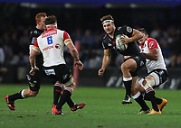 Harold Vorster of the Emirates Lions has hold of Andre Esterhuizen of the Cell C Sharks during the Vodacom Super Rugby match between the Cell C Sharks and the Emirates Lions the at Growthpoint Kings Park in Durban, South Africa. 15th July 2017(Photo by Steve Haag)