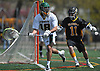 JD Gebbia #18, Lynbrook goalie, left, looks to pass upfield under pressure from Wantagh #11 Dylan Beckwith during a Nassau County varsity boys lacrosse game at Marion Street Elementary School on Wednesday, Apr. 27, 2016. Gebbia made 20 saves in Lynbrook's 14-7 win.