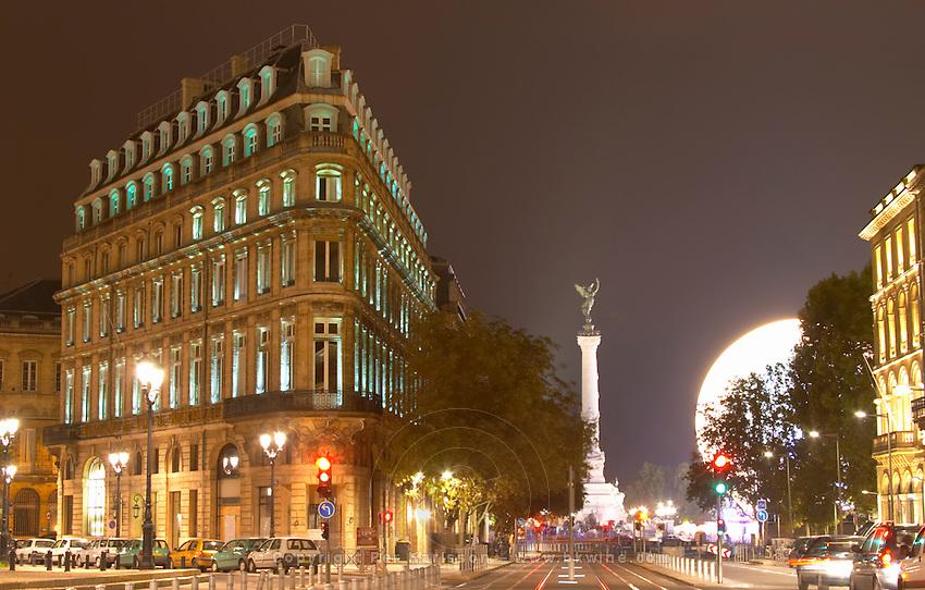 Maison du Vin, House of Wine, CIVB office on Allees de Tourny and Place de la Comedie. The Monument aux Girondins. Bordeaux city, Aquitaine, Gironde, France