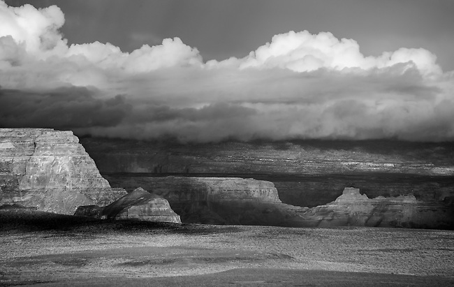 Storm clouds move through Glen Canyon National Recreation Area at Lake Powell, Arizona