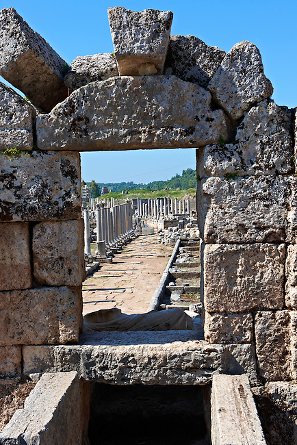 View through the  fountain of the Acropolis along the columned main street of the city. Perge (Perga) archaeological site, Turkey