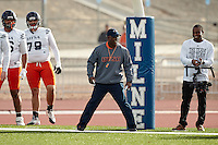 ALBUQUERQUE, NM -DECEMBER 15, 2016: The University of Texas at San Antonio Roadrunner Football Team practices at Milne Stadium in preparation for the Gildan New Mexico Bowl. (Photo by Jeff Huehn)