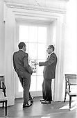 United States President Richard M. Nixon, left, meets with his National Security Advisor, Doctor Henry A. Kissinger, right, in the Oval Office in the White House in Washington, D.C. on February 10, 1971.<br /> Credit: White House via CNP