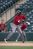 AZL Diamondbacks shortstop Geraldo Perdomo (12) at bat during the completion of a suspended Arizona League game against the AZL Angels at Tempe Diablo Stadium on July 16, 2018 in Tempe, Arizona. The game was a continuation of the July 11, 2018 contest that was suspended by rain in the middle of the eighth inning. The AZL Diamondbacks defeated the AZL Angels 12-8. (Zachary Lucy/Four Seam Images)