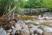 Footbridge along the Thoreau Falls Trail days after Tropical Storm Irene. This bridge crosses the East Branch of the Pemigewasset River in the Pemigewasset Wilderness of New Hampshire. The White Mountain National Forest was officially closed during Tropical Storm Irene.