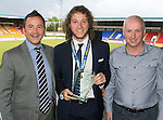 St Johnstone FC Player of the Year Awards...18.05.14<br /> Business Club Player of the Year Award to Stevie May presented by Derek Petterson and Mike Crichton<br /> Picture by Graeme Hart.<br /> Copyright Perthshire Picture Agency<br /> Tel: 01738 623350  Mobile: 07990 594431
