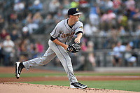 Starting pitcher Phillip Diehl (3) of the Charleston RiverDogs delivers a pitch in a game against the Columbia Fireflies on Friday, June 9, 2017, at Spirit Communications Park in Columbia, South Carolina. Columbia won, 3-1. (Tom Priddy/Four Seam Images)