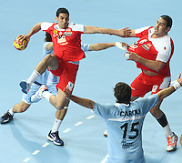 18.01.2013 Barcelona, Spain. IHF men's world championship, prelimanary round. Picture show Kamel Alouini   in action during game between Arnetina vs Tunisia at Palau St Jordi