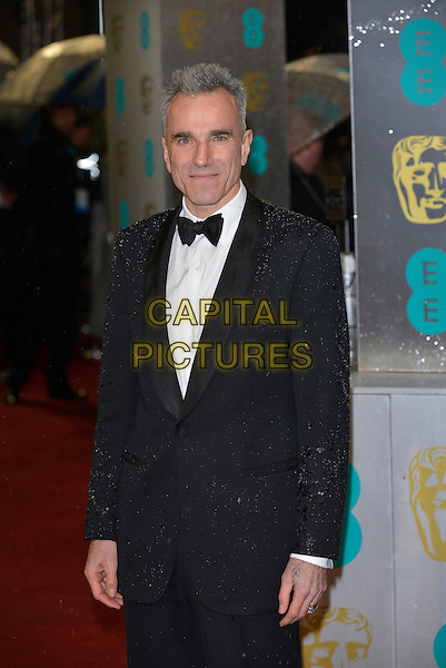 Daniel Day Lewis.EE British Academy Film Awards at The Royal Opera House, London, England 10th  February 2013.BAFTA BAFTAS arrivals half length black white shirt bow tie tuxedo .CAP/PL.©Phil Loftus/Capital Pictures
