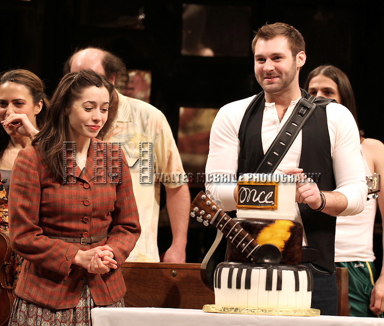 Cristin Milioti & Ben Hope performing during the Curtain Call for 'Once' celebrating their One Year Anniversary on Broadway at the Bernard B. Jacobs Theatre  in New York City on 3/20/2013