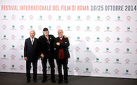 Da sinistra, il Presidente della Fondazione Cinema per Roma Paolo Ferrari, l'attore Tomas Milian ed il Direttore del Festival Internazionale del Film di Roma Marco Muller posano durante il  photocall di apertura del Festival Internazionale del Film di Roma, 16 ottobre 2014.<br /> From left, Rome Cinema Foundation's President Paolo Ferrari, Cuban actor Tomas Milian, and International Rome Film Festival director Marco Muller pose for the Iinternational Rome Film Festival Opening Day photocall at Rome's Auditorium, 16 October 2014.<br /> UPDATE IMAGES PRESS/Isabella Bonotto
