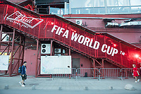 MOSCOW, RUSSIA - June 16, 2018: A large Bud sponsored logo adorns the side of the Red October complex in Moscow during the 2018 FIFA World Cup.
