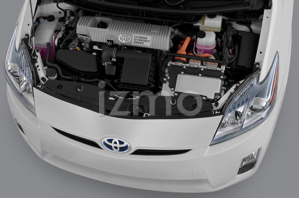 High angle engine detail of a 2010 Toyota Prius 2 .