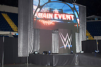 "A screen reads ""The Main Event"" before WWE Champion Jinder Mahal enters the arena for a match against Randy Orton at a WWE Live Summerslam Heatwave Tour event at the MassMutual Center in Springfield, Massachusetts, USA, on Mon., Aug. 14, 2017. Mahal lost the match."