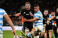 Pablo Matera blocks Kieran Read's grubber kick during the Rugby Championship match between the NZ All Blacks and Argentina Pumas at Yarrow Stadium in New Plymouth, New Zealand on Saturday, 9 September 2017. Photo: Dave Lintott / lintottphoto.co.nz
