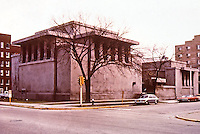 Frank Lloyd Wright: Unity Temple, Oak Park IL,, 1906. Modern style. NRHP 1970. Structure used reinforced concrete. Bipartite design. Clerestory windows in the upper walls. (Photo Feb. 1988)