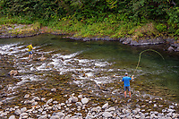 Fly fishing along upper Sol Duc River (this is on the Merrill & Ring property).  Olympic Peninsula, WA. Sept.  This photo is taken from the Merrill & Ring Bridge--1st bridge.