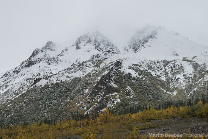 Snow-covered mountains after autumn storm, Denali National Park, Alaska