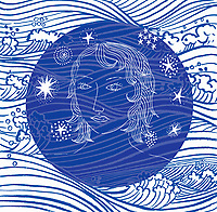Woman's face on abstract ocean wave pattern