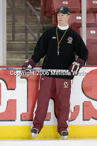 Assistant Coach Greg Brown watches the drill. The Boston College Eagles took their morning skate on Saturday, October 28, 2006, at the Kohl Center in Madison, Wisconsin.<br />