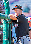 7 March 2016: Miami Marlins catcher J.T. Realmuto awaits his turn in the batting cage prior to a Spring Training pre-season game against the Washington Nationals at Space Coast Stadium in Viera, Florida. The Nationals defeated the Marlins 7-4 in Grapefruit League play. Mandatory Credit: Ed Wolfstein Photo *** RAW (NEF) Image File Available ***