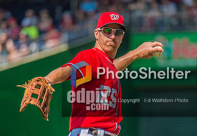 8 June 2013: Washington Nationals first baseman Adam LaRoche warms up prior to a game against the Minnesota Twins at Nationals Park in Washington, DC. The Twins edged out the Nationals 4-3 in 11 innings. Mandatory Credit: Ed Wolfstein Photo *** RAW (NEF) Image File Available ***