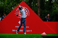 Keegan Bradley (USA) on the 9th tee  during the 1st round at the WGC HSBC Champions 2018, Sheshan Golf Club, Shanghai, China. 25/10/2018.<br />