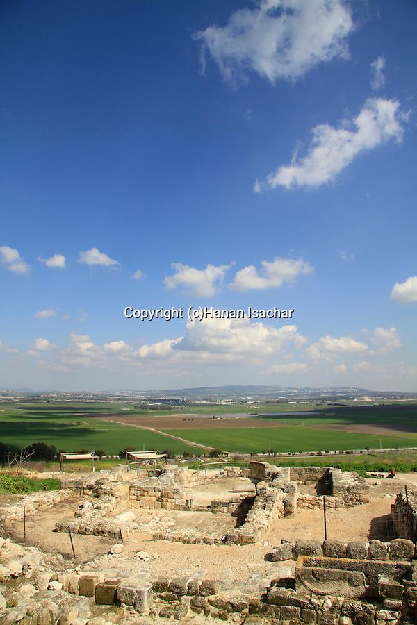 Israel, Tel Yokneam overlooking Jezreel valley, ruins of the Crusader settlement Caymont