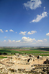 Israel, Tel Yokneam overlooking Jezreel valley, ruins of the Crusader settlement Caymont
