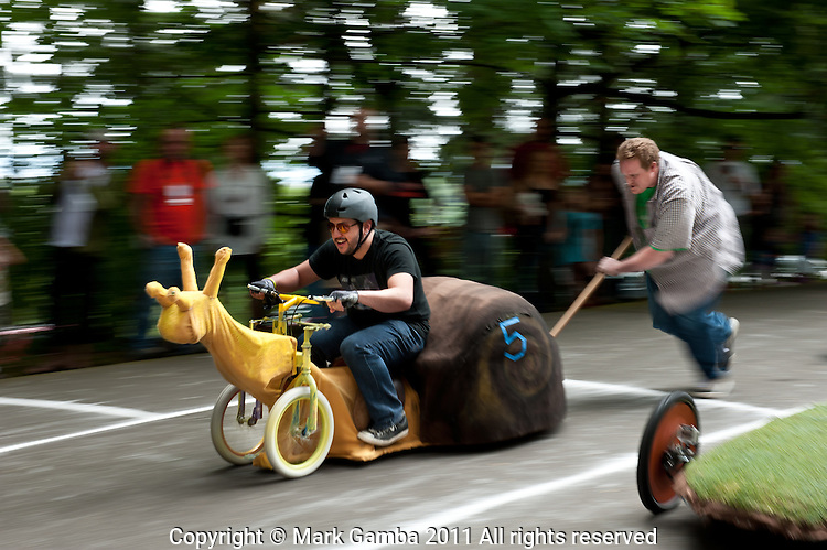 Racing Snail gets a push start at Portland's Adult Soap Box Derby