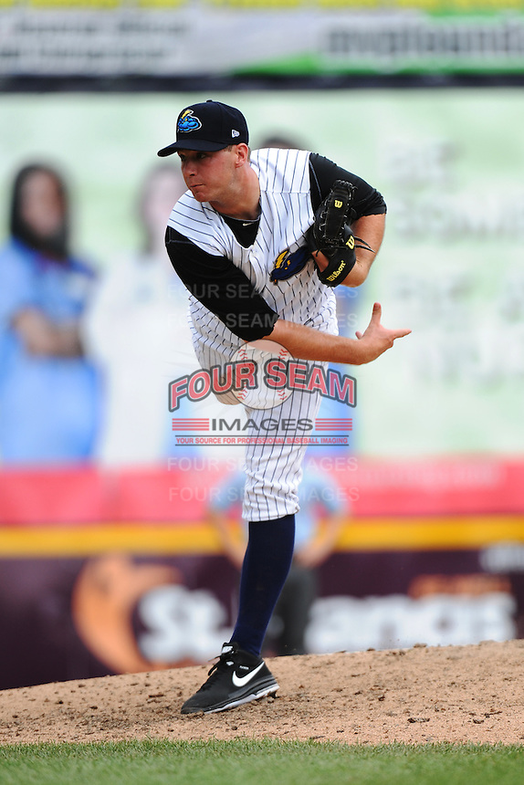 Trenton Thunder pitcher Danny Burawa (38) during game against the Altoona Curve at ARM & HAMMER Park on July 24, 2013 in Trenton, NJ.  Altoona defeated Trenton 4-2.  Tomasso DeRosa/Four Seam Images