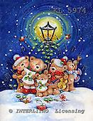Interlitho, CHRISTMAS ANIMALS, paintings,+bears, penguin,++++,5 bears,lantern,singing,KL5974,#XA# Weihnachten, Navidad, illustrations, pinturas