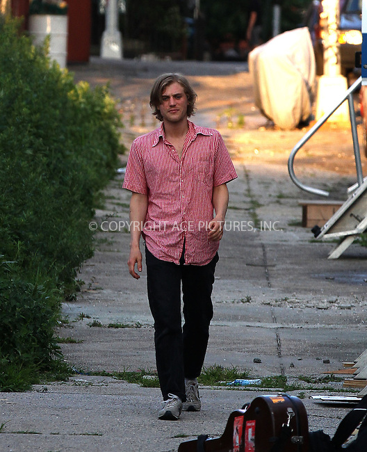 WWW.ACEPIXS.COM<br /> <br /> June 19 2013, New York City<br /> <br /> Actor Johnny Flynn walks on the set of the new movie 'Song One' in Brooklyn on June 19 2013 in New York City<br /> <br /> By Line: Zelig Shaul/ACE Pictures<br /> <br /> <br /> ACE Pictures, Inc.<br /> tel: 646 769 0430<br /> Email: info@acepixs.com<br /> www.acepixs.com