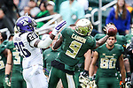 Baylor Bears wide receiver KD Cannon (9) in action during the game between the TCU Horned Frogs and the Baylor Bears at the McLane Stadium in Waco, Texas. TCU leads Baylor 31 to 27 at halftime.