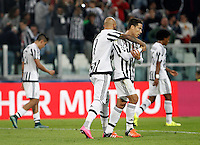 Calcio, Champions League: Gruppo D - Juventus vs Siviglia. Torino, Juventus Stadium, 30 settembre 2015.  <br /> Juventus&rsquo;s Simone Zaza celebrates with teammates Hernanes, right, after scoring during the Group D Champions League football match between Juventus and Sevilla at Turin's Juventus Stadium, 30 September 2015. Juventus won 2-0.<br /> UPDATE IMAGES PRESS/Isabella Bonotto
