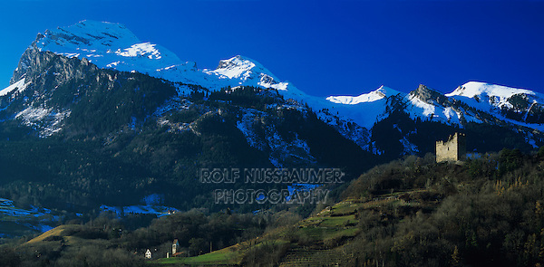 Sarganser Castle and Mountains, Sargans, Switzerland,