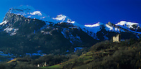 Sarganser Castle and Mountains, Sargans, Switzerland,