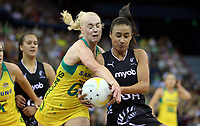 07.10.2018 Silver Ferns Maria Folau and Australia's Jo Weston in action during the Silver Ferns v Australia netball test match at the Brisbane Entertainment Centre in Brisbane. Mandatory Photo Credit ©Michael Bradley.