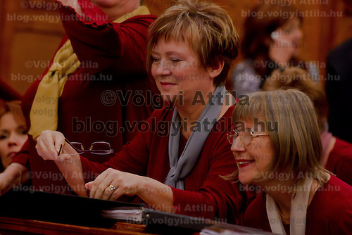 Szena-Torok choir whose members are all active or former members of the Hungarian Parliament some of them former ministers perform their 15th anniversary concert in Budapest, Hungary, on  November 11, 2011. ATTILA VOLGYI Audioslideshow can be viewed:<br />