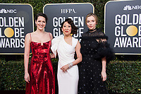Phoebe Waller-Bridge, nominee Sandra Oh and Jodie Comer attend the 76th Annual Golden Globe Awards at the Beverly Hilton in Beverly Hills, CA on Sunday, January 6, 2019.<br /> *Editorial Use Only*<br /> CAP/PLF/HFPA<br /> Image supplied by Capital Pictures