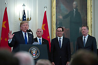 United States President Donald J. Trump delivers remarks before he and Liu He, China's vice premier, sign a trade agreement between the United States and China in the East Room of the White House in Washington D.C., U.S., on Wednesday, January 15, 2020.  <br /> <br /> Credit: Stefani Reynolds / CNP/AdMedia