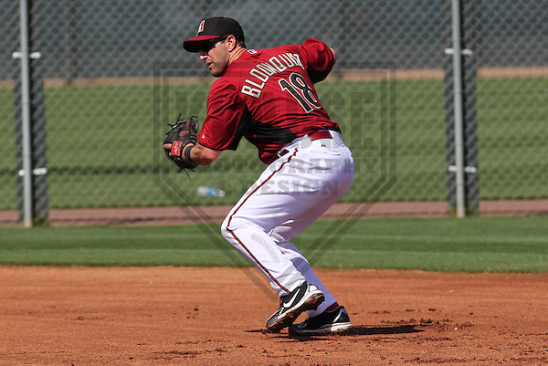 SCOTTSDALE - March 2013:  Willie Bloomquist (18) of the Arizona DiamondBacks during a Spring Training workout on March 19, 2013 at Salt River Fields in Scottsdale, Arizona.  (Photo by Brad Krause). .