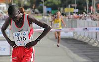 SAO PAULO, SP, 04 DE MARCO DE 2012 - MEIA MARATONA INTERNACIONAL DE SAO PAULO - Joseph Kashapin Aperumoi atleta do Quenia vencedor da prova masculina durante a Meia Maratona Internacional de Sao Paulo, na Praca Charles Muller, na manha deste domingo, 04. FOTO WARLEY LEITE - BRAZIL PHOTO PRESS.