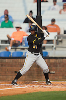 Nick Buckner (34) of the Bristol Pirates at bat against the Johnson City Cardinals at Howard Johnson Field at Cardinal Park on July 6, 2015 in Johnson City, Tennessee.  The Pirates defeated the Cardinals 2-0 in game one of a double-header. (Brian Westerholt/Four Seam Images)