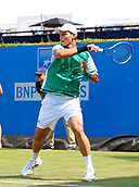 June 19th 2017, Queens Club, West Kensington, London; Aegon Tennis Championships, Day 1; Number seven seed Tomas Berdych (CZE) hits a forehand during his singles match against Steve Darcis (BEL); Berdych won in straight sets