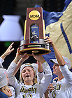 Dec. 5, 2010;  Women's Soccer player Jessica Schuveiller holds the National Championship trophy during a welcome home rally at the Purcell Pavilion.  ..Photo by Matt Cashore/University of Notre Dame
