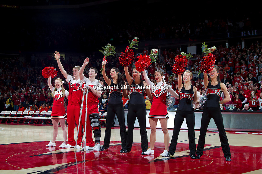 Wisconsin Badgers senior spirit squad at their final game during a Big Ten Conference NCAA college basketball game against the Illinois Fighting Illini on Sunday, March 4, 2012 in Madison, Wisconsin. The Badgers won 70-56. (Photo by David Stluka)