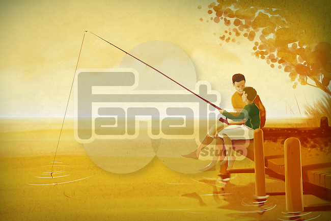 Illustration of father and son fishing in lake