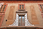 Decorated facade of a building in downtown Como, Italy