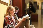 1050 – Sara Mohr and Meaghan Lyons take advantage of the Oriental Museum's study night Sunday evening to get some last minute studying done. The Oriental Institute is located at 1155 E. 58th Street.